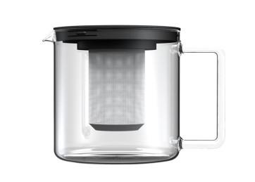 Teiera cilindrica in vetro di Bohemia con coperchio e colino adatto al microonde L. 1,3