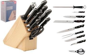 Ceppo di legno completo di 9 coltelli forgiati e accessori di Paderno