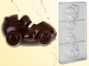 Stampo in policarbonato per cioccolato PULCINO IN AUTO  a forma di UOVO