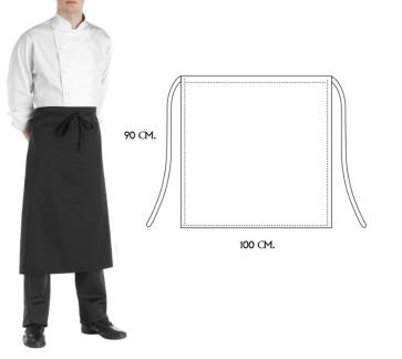 Grembiule Falda Cuoco Francese 90 x 100 cm. Colore Nero