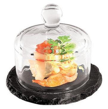Piatto rotondo in ardesia naturale con campana di vetro
