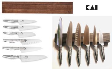 Suspended: barra magnetica completa di 6 coltelli Serie Seki Magoroku Shoso di Kai