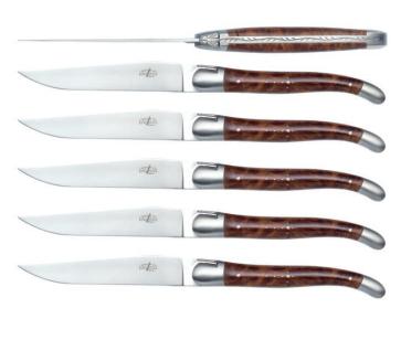 Set di 6 Coltelli da Tavola manico in Thuya e inox satinato di Forge de Laguiole®