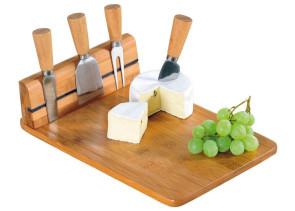 Tagliere in bambù con 4 coltelli per il formaggio