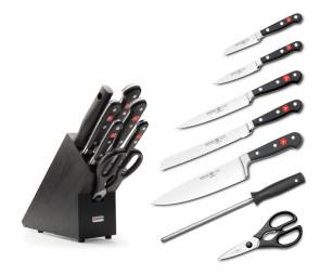 Ceppo completo di 5 coltelli Classic 1 forbice 1 Acciaino di Wusthof