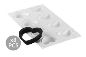 Kit Stampo in Silicone cuore e 8 Ring AMORE di Silikomart Professional