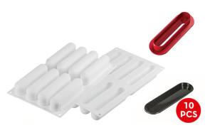 L'Éclair 120: stampo in silicone + cutter + 10 vassoi di Silikomart Professional