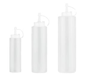 Flacone dosatore, biberon, dosasalse in polietilene - colore Bianco