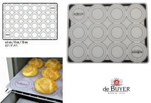 Foglio di cottura in silicone con cerchi disegnati per tartellette, macarons, meringhe...