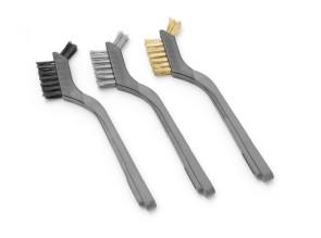 Set di 3 spazzole metalliche strette corte per barbecue