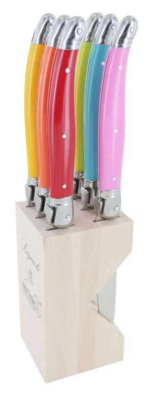 Ceppo di 6 coltelli da bistecca Laguiole di André Verdier Printemps