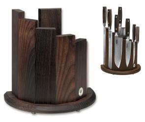 Ceppo portacoltelli vuoto con magnete in legno frassino