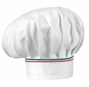 Cappello cuoco HAT ITALY: Bianco con finiture rosso e verde