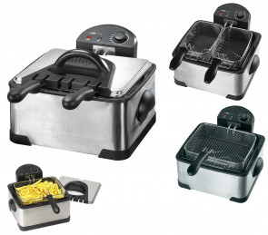 Friggitrice elettrica doppia acciaio inox 2000W
