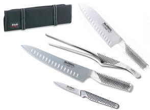 Avvolgibile Chef de Partie completo di coltelli giapponesi Global