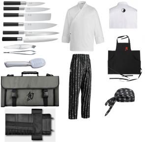 Valigetta Kai Sushiman completa coltelli, accessori, giacca, grembiule e bandana
