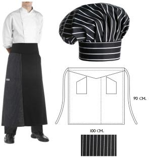 Set Cappello e grembiule cuoco Gessato