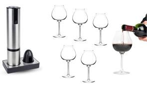 Set amanti del vino: Cavatappi elettrico e 6 bicchieri vino di Peugeot