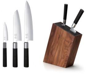 Ceppo in noce completo di 3 coltelli Wasabi Black di Kai