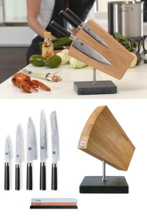 ceppo Kai con 5 coltelli damasco
