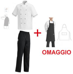 Completo Giacca da cuoco bianca e pantalone nero + grembiule in OMAGGIO