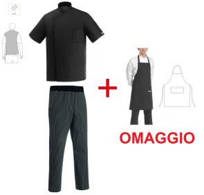 Completo Giacca da cuoco NERA e pantalone GESSATO + grembiule in OMAGGIO