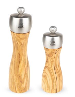 Set Macinapepe e Macinasale Fidji manuale in legno di ulivo e acciaio inossidabile di Peugeot