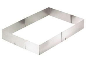 Cornice - telaio rettangolare per torte regolabile in acciaio inox