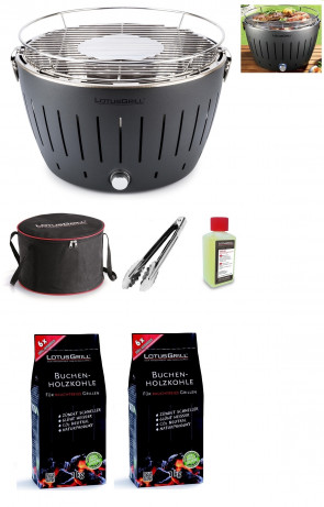 Barbecue da tavolo Lotus Grill L Nero+ Carbonella 2 kg + Gel + Pinza per barbecue