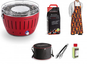 Barbecue portatile Lotus Grill Mini + Carbonella 2,5 kg + Gel + Pinza per barbecue + Grembiule