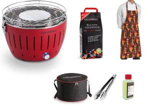 Barbecue portatile Lotus Grill Mini + Carbonella 2,5 kg + Gel + Pinza per barbecue + Grembiule