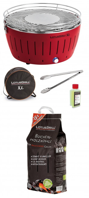 Barbecue da tavolo Lotus Grill XL Rosso + Carbonella 2,5 kg + Gel + Pinza per barbecue