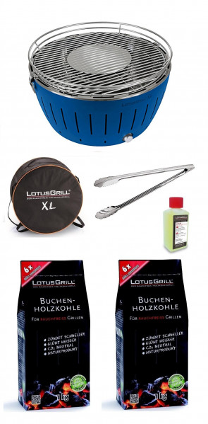 Barbecue da tavolo Lotus Grill XL BLU + Carbonella 2 kg + Gel + Pinza per barbecue