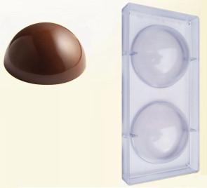 Stampo in policarbonato per cioccolato 2 Semisfere Grandi D. 14,8 cm.