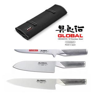 Global BASIC: Avvolgibile completo di 3 coltelli giapponesi Global