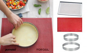 Progetto crostate: Teglia, tappettino, 2 anelli forati cm. 17 e cm. 21