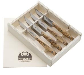 Set 4 coltelli bistecca filo liscio manico olivo Linea 1896 di Due Cigni Coltellerie