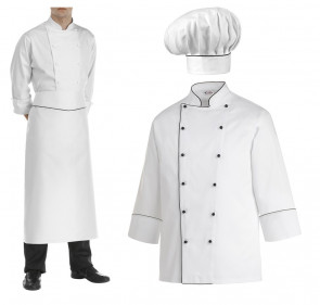 Set abbigliamento da cuoco Elegance: Giacca manica lunga + Grembiule + Cappello