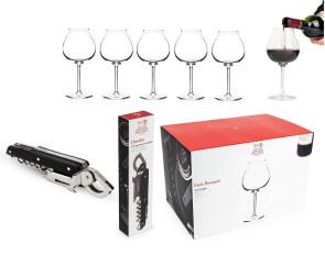 Stappa e Versa: Cavatappi sommelier + 6 bicchieri vino di Peugeot