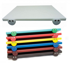 Tagliere con fermi in polietilene 60x40 cm. (bianco, rosso, verde, giallo, blu)