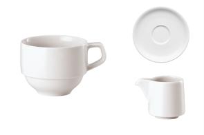 Tazza impilabile, piattino e cremiera per cappuccino serie Rotondo di Arthur Krupp