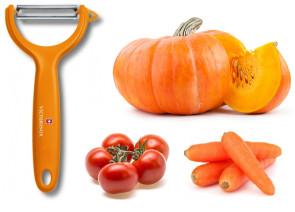 Pelapatate Pela verdure lama microdentata di Victorinox manico arancione