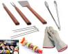 Grill Set - Set completo per Barbecue con guanti anticalore, pinza e spiedini