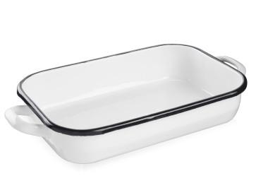 Rectangular baking pan with white enamel handles