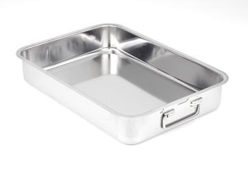 Rectangular stainless steel baking pan