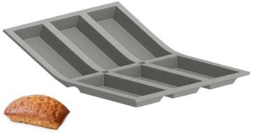 Silicone mould for 6 Financiers cakes large in De Buyer Elastomoule