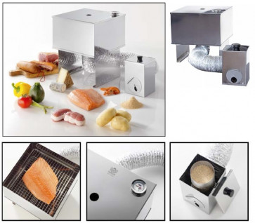 Fumoir : De Buyer stainless steel smoke making device with sawdust