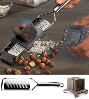 Grater for walnuts, hazelnuts, almonds, cashew-nuts with holder of Microplane