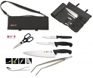 Atlantic Chef case complete with 3 professional kitchen knives + 1 tong + Alma Test + Scissors