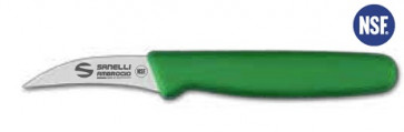 Curved paring knife 7 cm green handle